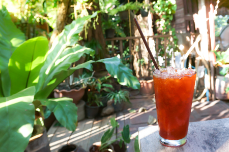 Iced honey lemon tea  in modern glass with natural garden view, Thai drink