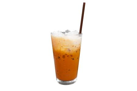 Iced milk tea in modern glass Isolated on white background,Summer drinks Thailand Reklamní fotografie
