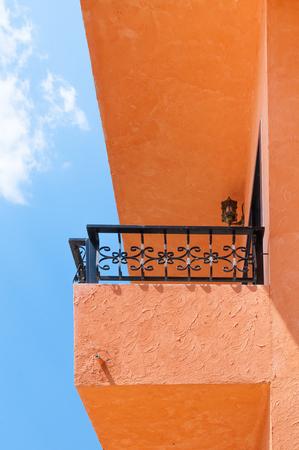 Modern apartment balcony ,balconies orange of hotel on sky background