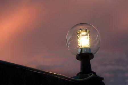 lantern street light on twilight evening background