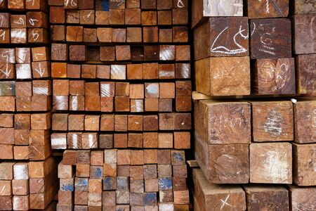 Cross section of sawn timber,Selection of freshly sawn timber material (beam) Stock fotó