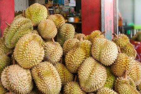 Durian in the market.Taste of durian fruit buffet festival