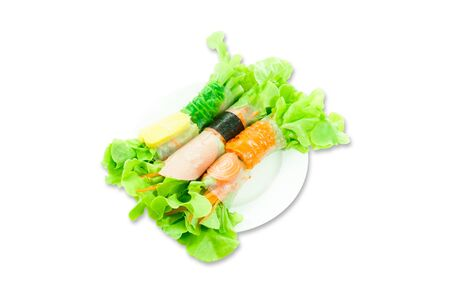 Fresh vegetable spring roll, clean food, Roll salad for weight loss, isolated on white background
