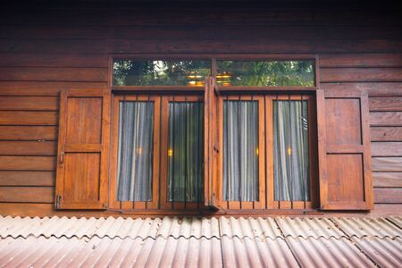 Retro wooden window at house