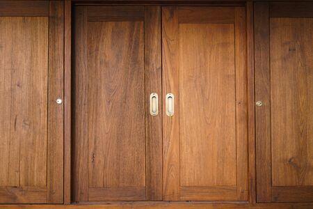 Traditional Japanese style sliding wooden door,Close up sliding wooden door Stock fotó