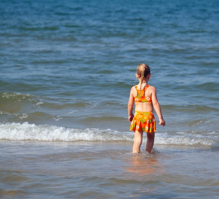 Child and sea.  photo