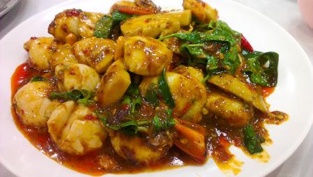 Scallop in sweet chilli sauce,Thai cuisine Stock Photo