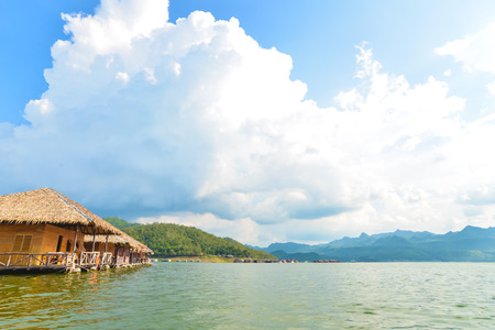 Floating houses on dam, Thailand