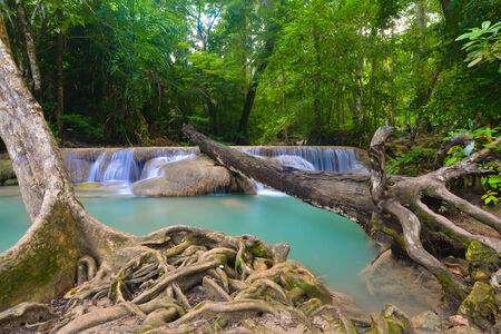 Erawan Waterfall, Kanchanaburi, Thailand (water, waterfall, forest) photo