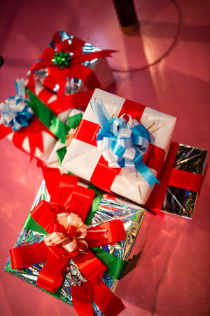 gift wrapped: A group of gift wrapped Christmas presents