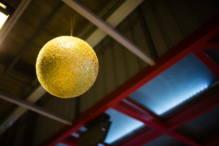 gold baubles (christmas, green, balls) photo