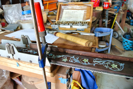 fretboard: Making guitar,sawing fretboard and tools, luthier