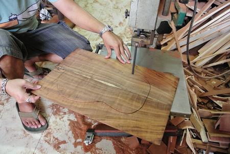 sawing: Sawing bookmatched guitar top, luthier