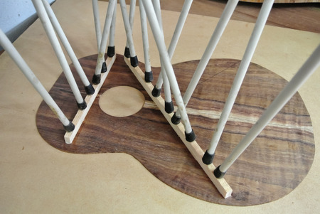 bracing: Bracing guitar top, luthier Stock Photo