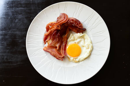 eggs with bacon for breakfast on white plate photo