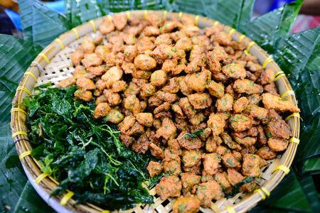 pla: Thai Food Fish Cake (Tod Mun Pla Krai) , traditional thai cuisine, shallow depth of field