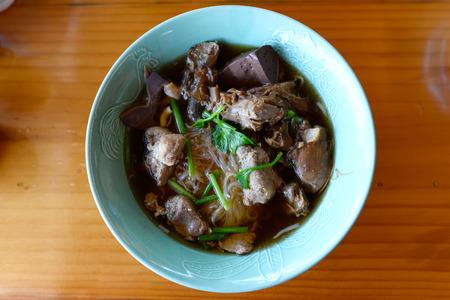 stewed: Vegetable noodle with stewed pork