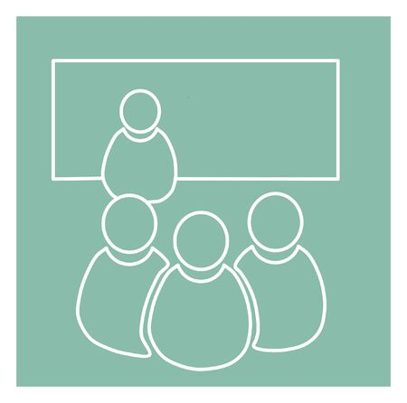 listeners: Illustration of training room, training icon Illustration