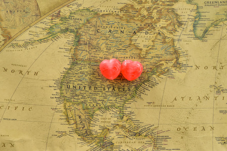 Sweet Heart Candy Present Love In Old Usa Map United States Stock Photo 37557842