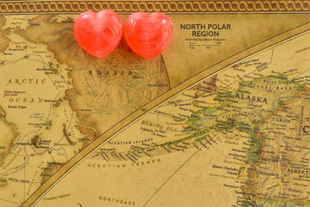 romantics: Sweet heart candy present love in old Russia map