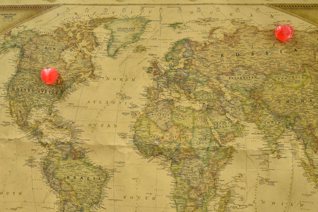 romantics: Sweet heart candy present love between USA and Russia old map