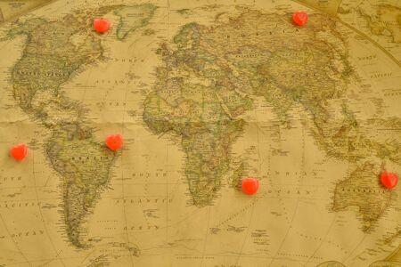 romantics: Sweet heart candy present love around the world, Old world map