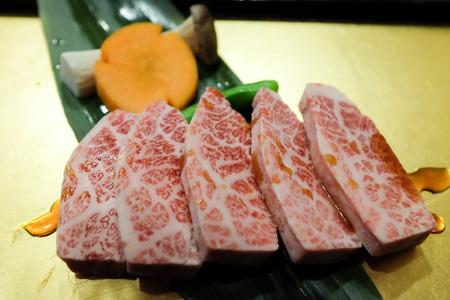 restuarant: Close up freshness Japanese Matsusaka beef in restuarant