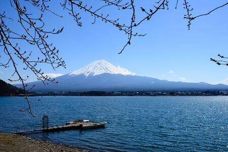 habour: Fujisan Mt. Fuji and habour in the sunny sky  Kawaguchiko Japan