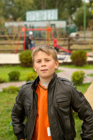smiling boy in the background of children photo