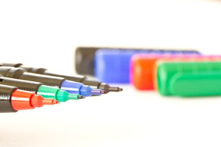 four pen with the color on a white background photo