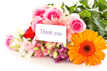 with thanks: floral bouquet of different flowers on a white background