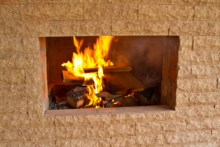 wood-burning stove for cooking food photo