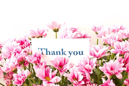 say thank you on a background of beautiful flowers