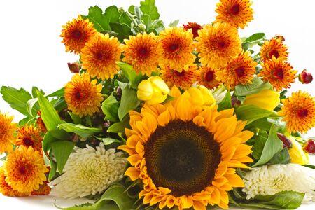 beautiful bouquet of orange on a white background Chrysanthemum photo