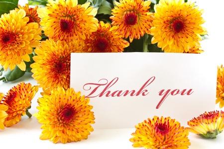 オレンジ色の菊の背景に「ありがとう」