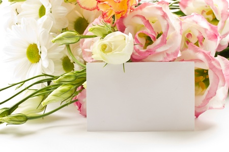 flower card: a bouquet of beautiful flowers on a white background