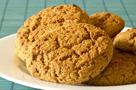 oatmeal cookies lay on a plate photo