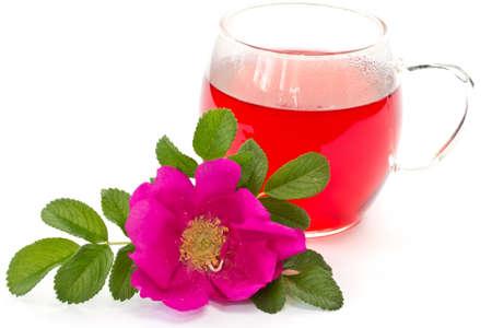 flower rose hips and rose hip tea photo