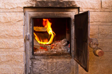 wood burning fire in the furnace Stock Photo - 11068453
