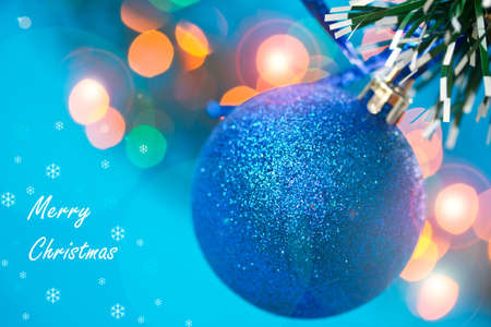 New Years ball on a blue background abstract photo