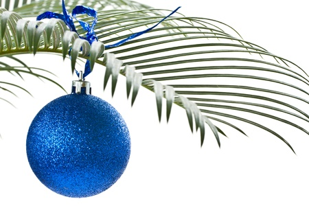 tropical christmas: New blue ball on the palm-branch on a white background