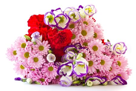 a bouquet of beautiful flowers on a white background photo