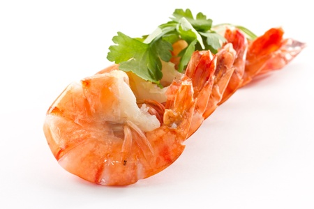 Boiled big red shrimp on a background white photo