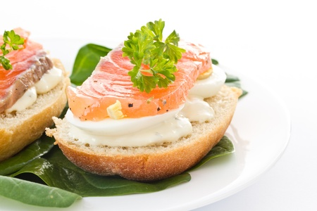 sandwich with eggs and salted salmon on a white background photo