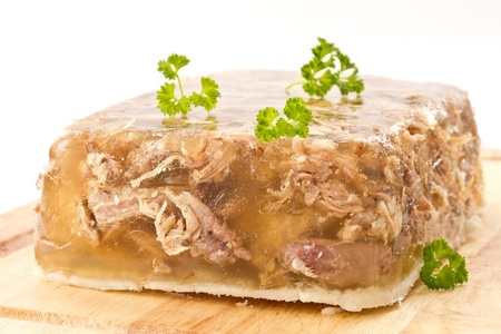 delicious cold meat jelly on white background Stock Photo - 12478826