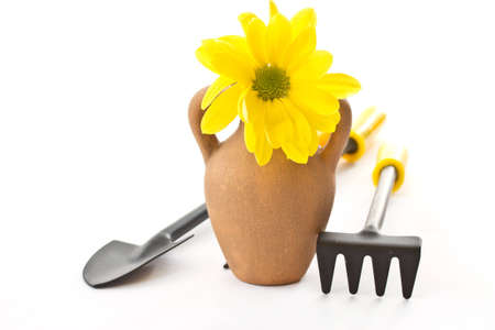 rake and shovel, with flowers on a white background photo