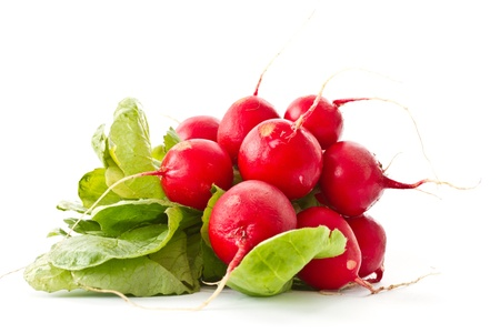bunch of fresh red radishes on a white background