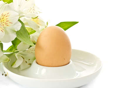 eggcup: boiled egg in a saucer on white background Stock Photo