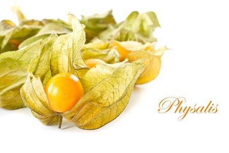 physalis yellow ripe berries on a white background photo
