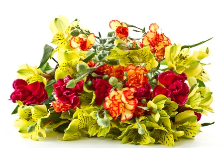 Alstroemeria and red carnations on a white background Stock Photo - 12973393